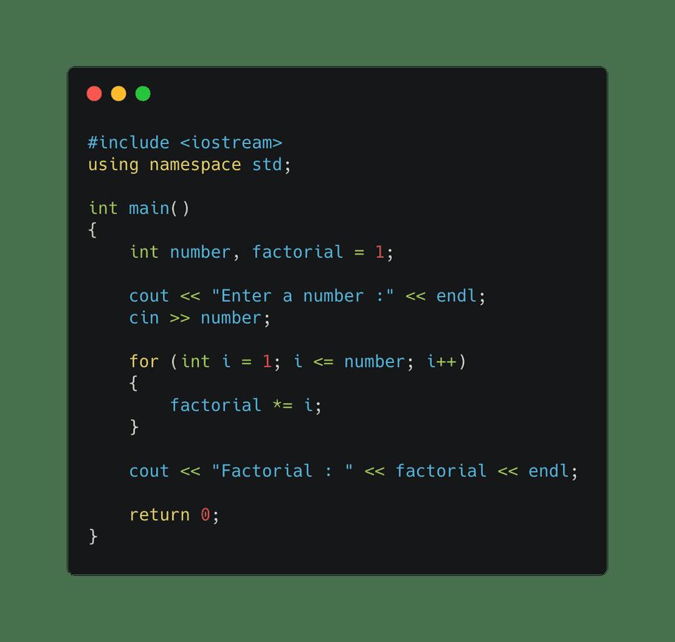C++ factorial using for loop