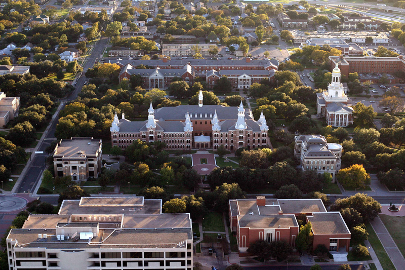 An aerial view of Old Main building in the Burleson Quadrangle at Baylor University