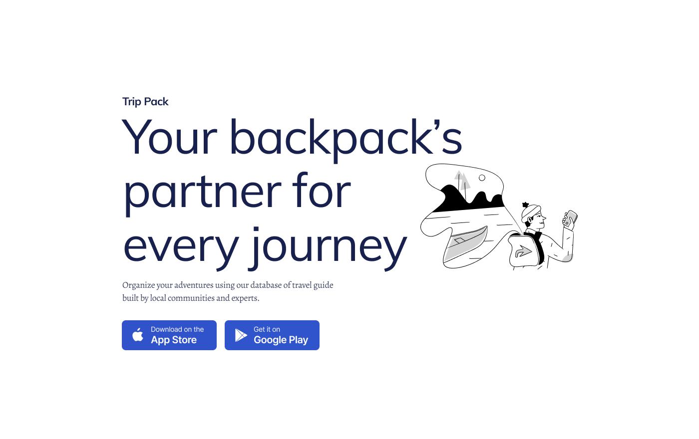 Trip pack website landing page