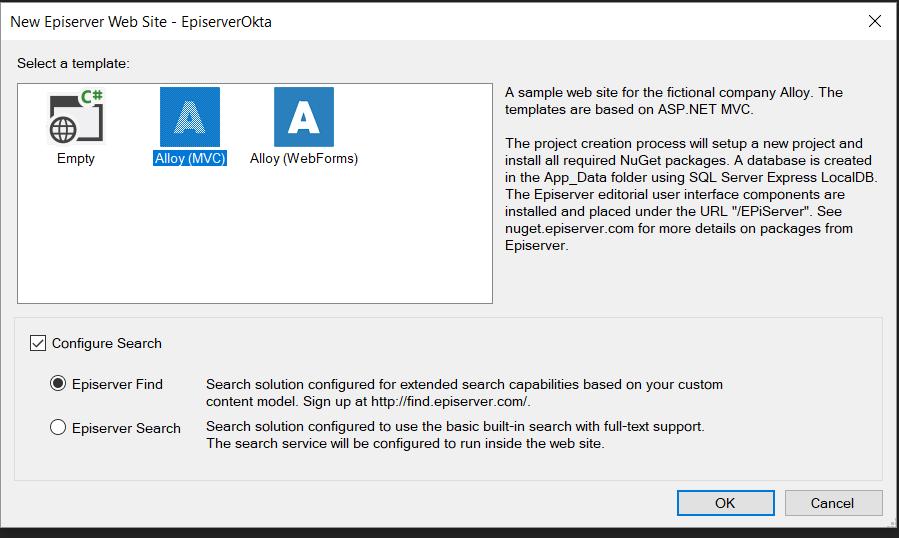 Visual Studio Episerver Alloy selection
