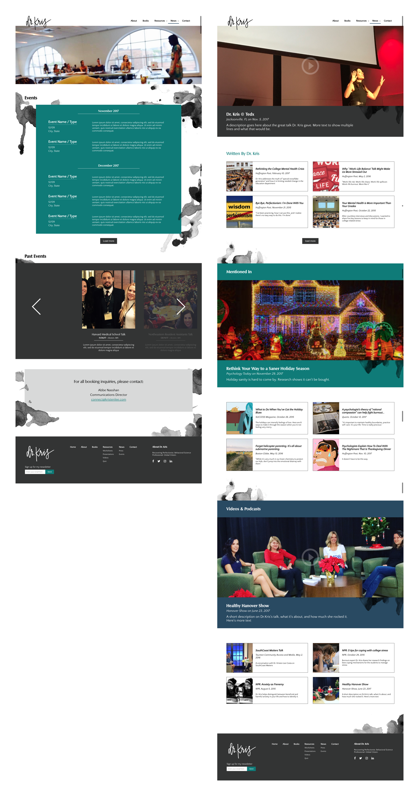 Hi-fi UI for the events and resources pages for Dr. Kris's site. Both list dynamic content the client would add herself.