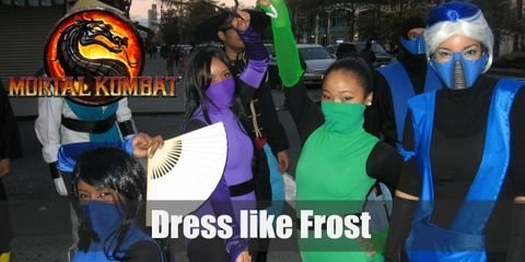 Frost's attire is the female counterpart of Sub Zero's with the same shade of blue and the ninja-like uniform. Their biggest difference is that Frost's hair is visible and she sports an ice white, spiky hairdo.