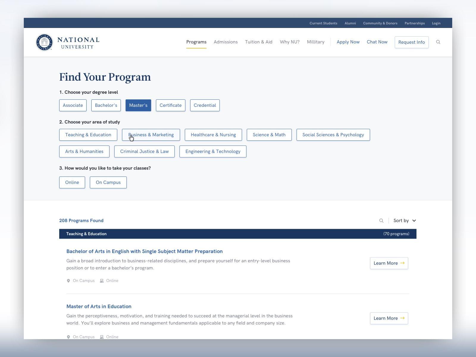 screenshot of the National University program finder page at desktop size