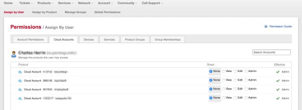 MyRackspace screenshot - Assign SSO permissions by user