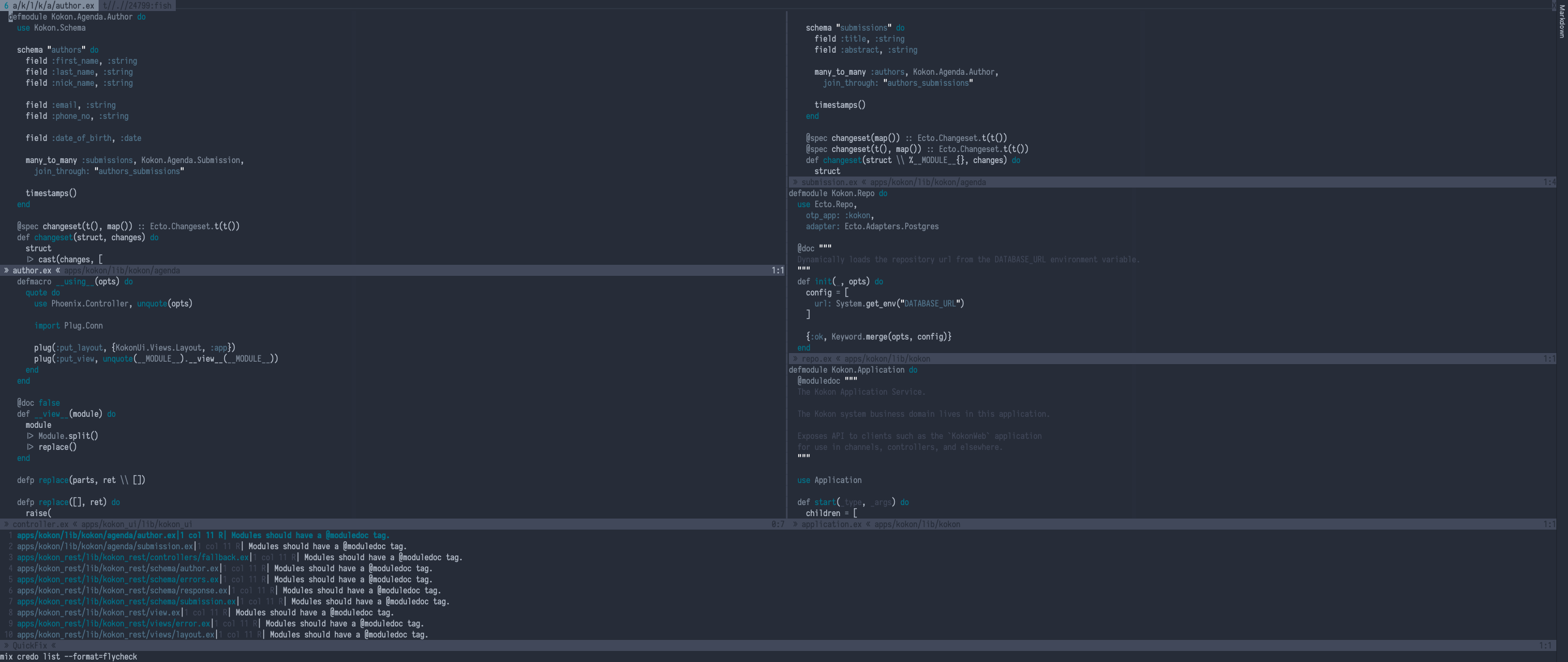 My example session in NeoVim with QuickFix displaying Credo warnings