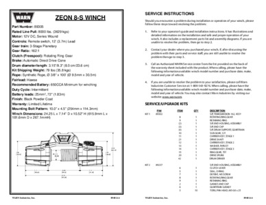 Specs and Parts List