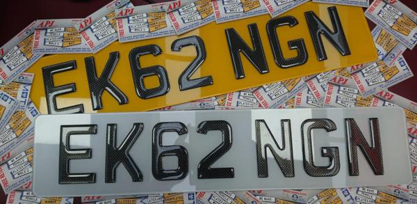 Front and rear carbon 3D gel plates that read 'EK62 NGN'