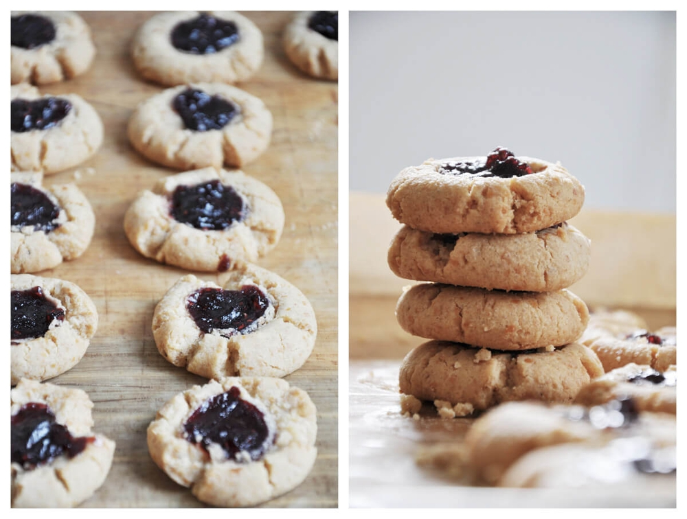 Peanut Butter and Berry Jam Cookies