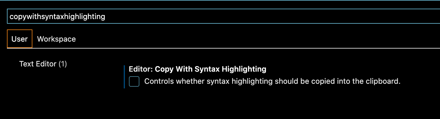 The option in VS Code settings that controls whether syntax highlighting should be copied into the clipboard