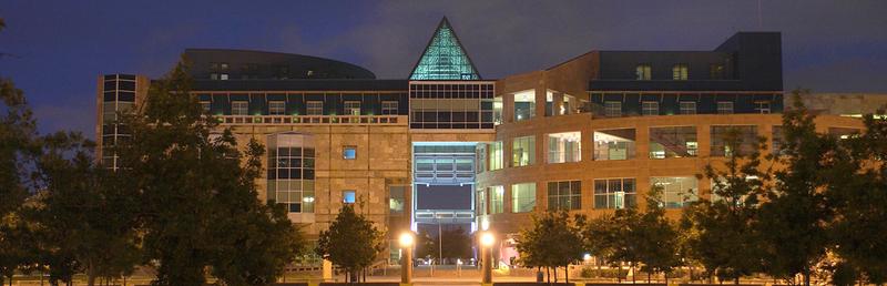 UT San Antonio campus building at night
