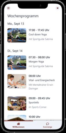 Wochenprogramm in der digitalen Gästemappe