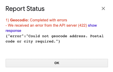 Showing error 422