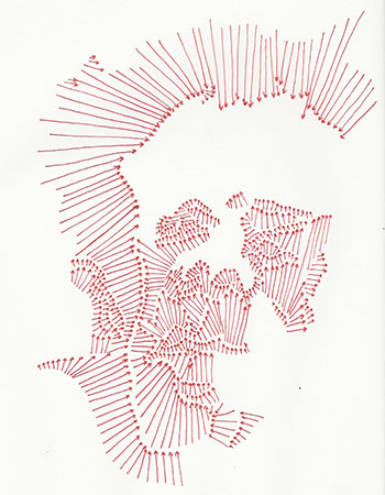 Red arrow negative contour of Belflower's face