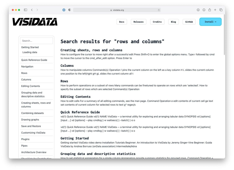 VisiData documentation search