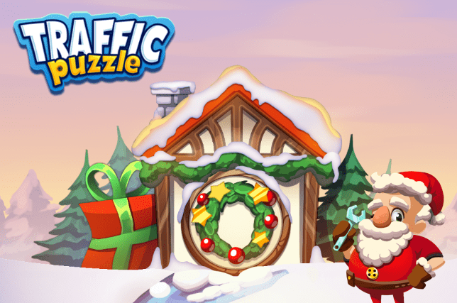 Christmas-themed game Traffic Puzzle
