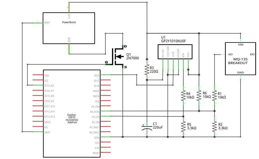 Arduino air quality schematic