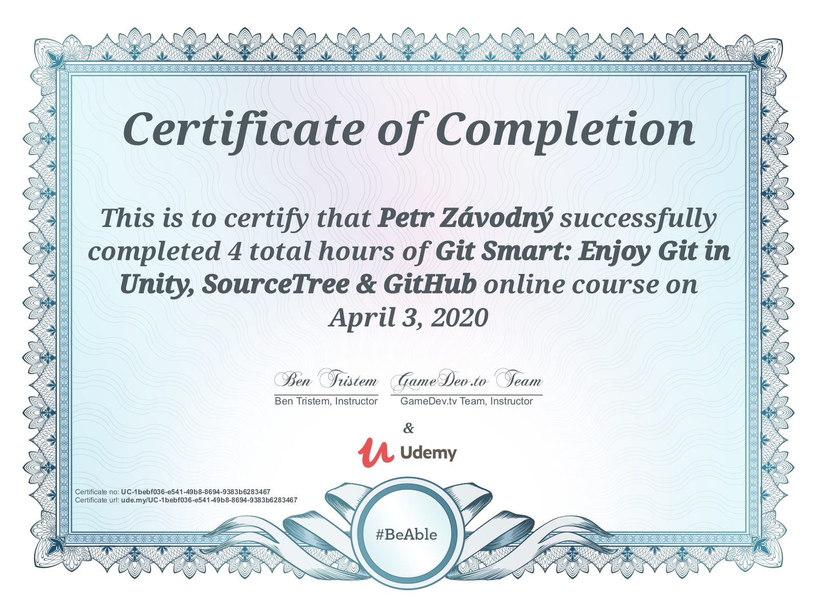 certificate Git Smart: Enjoy Git in Unity, SourceTree & GitHub
