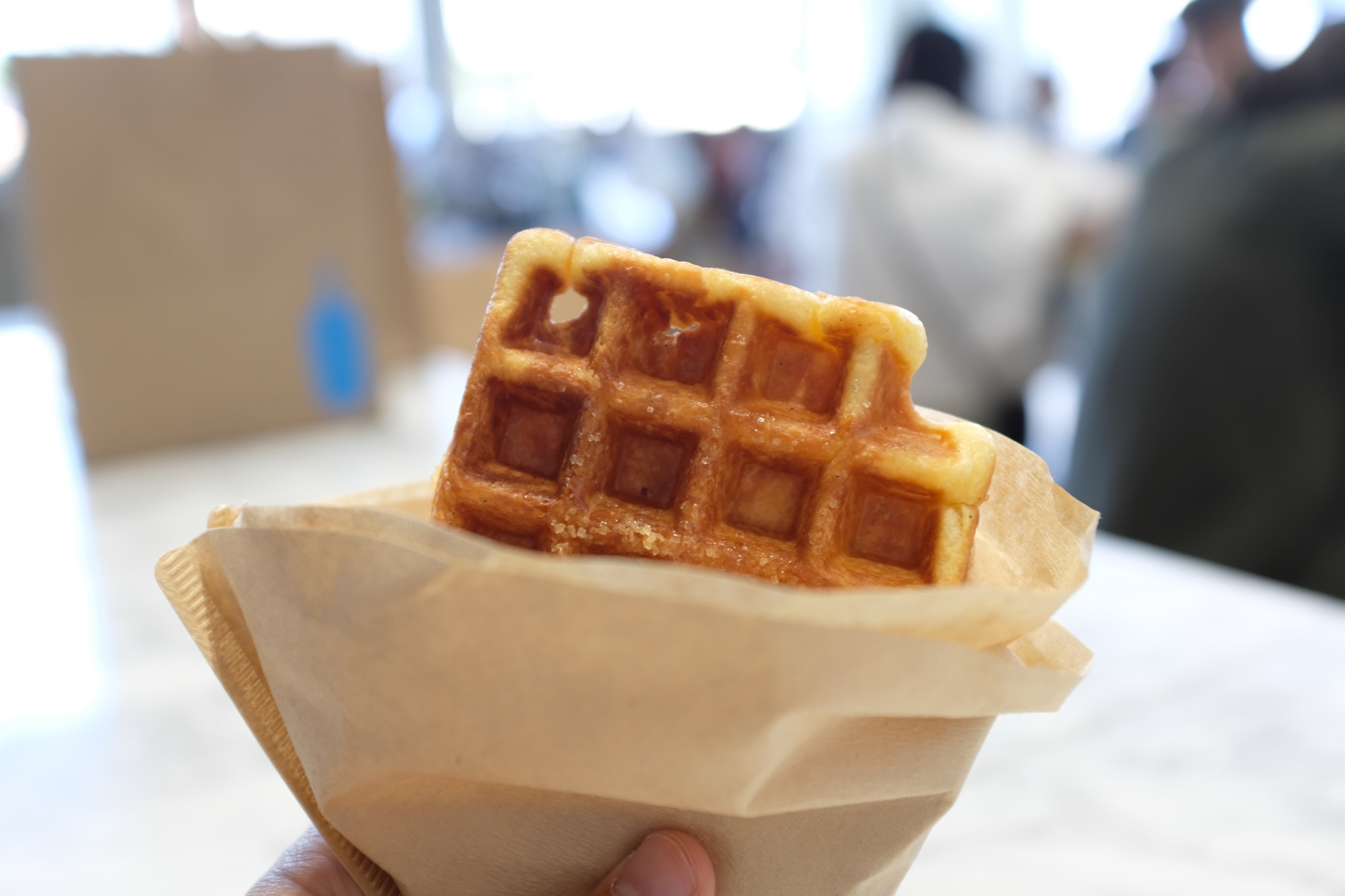 Warm waffle pairs nicely with a good coffee