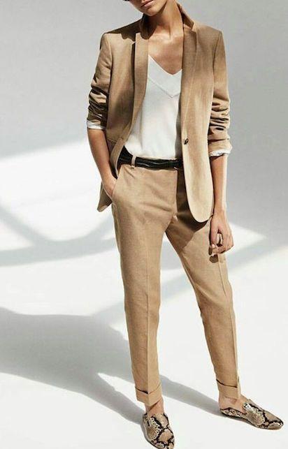Tailleur femme ourlet marron