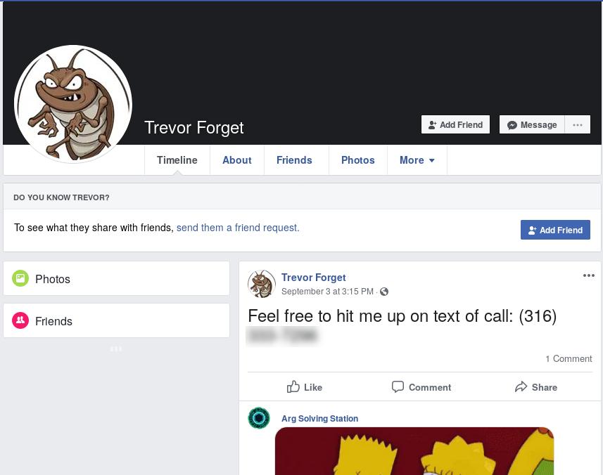 MalwareTrevor Facebook profile