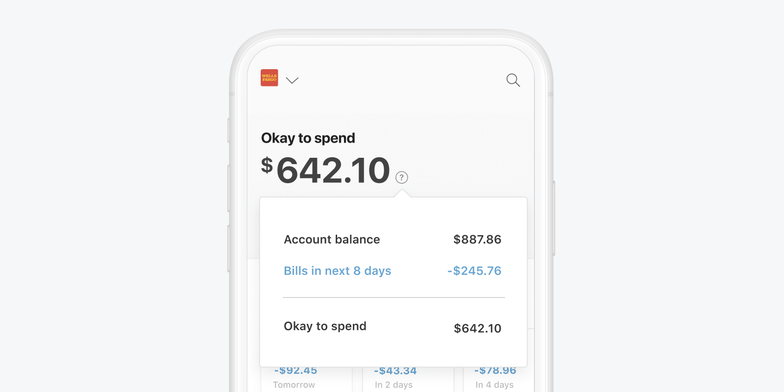 """The Even app's """"Okay to spend"""" screen, showing the user's bank account balance of $887.86, upcoming bills amounting to $245.76, and an """"okay to spend"""" amount of $642.10"""