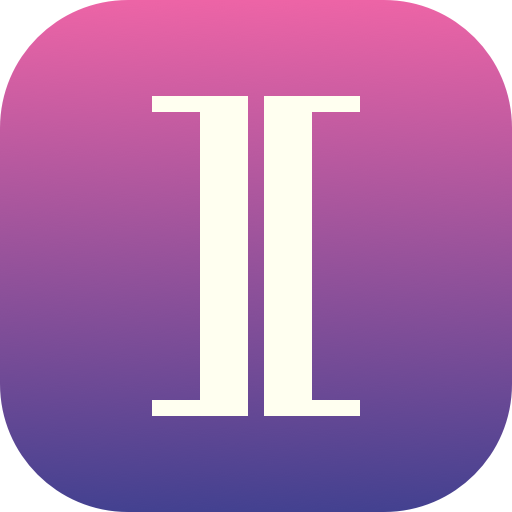 Square with rounded corners. Two white square brackets are oriented to form a capital letter I, with pink-to-purple gradient behind.