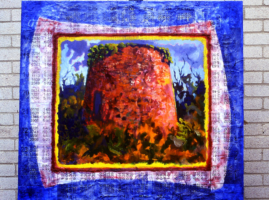 colourful painting of Martello Tower surrounded by border of printed tide times