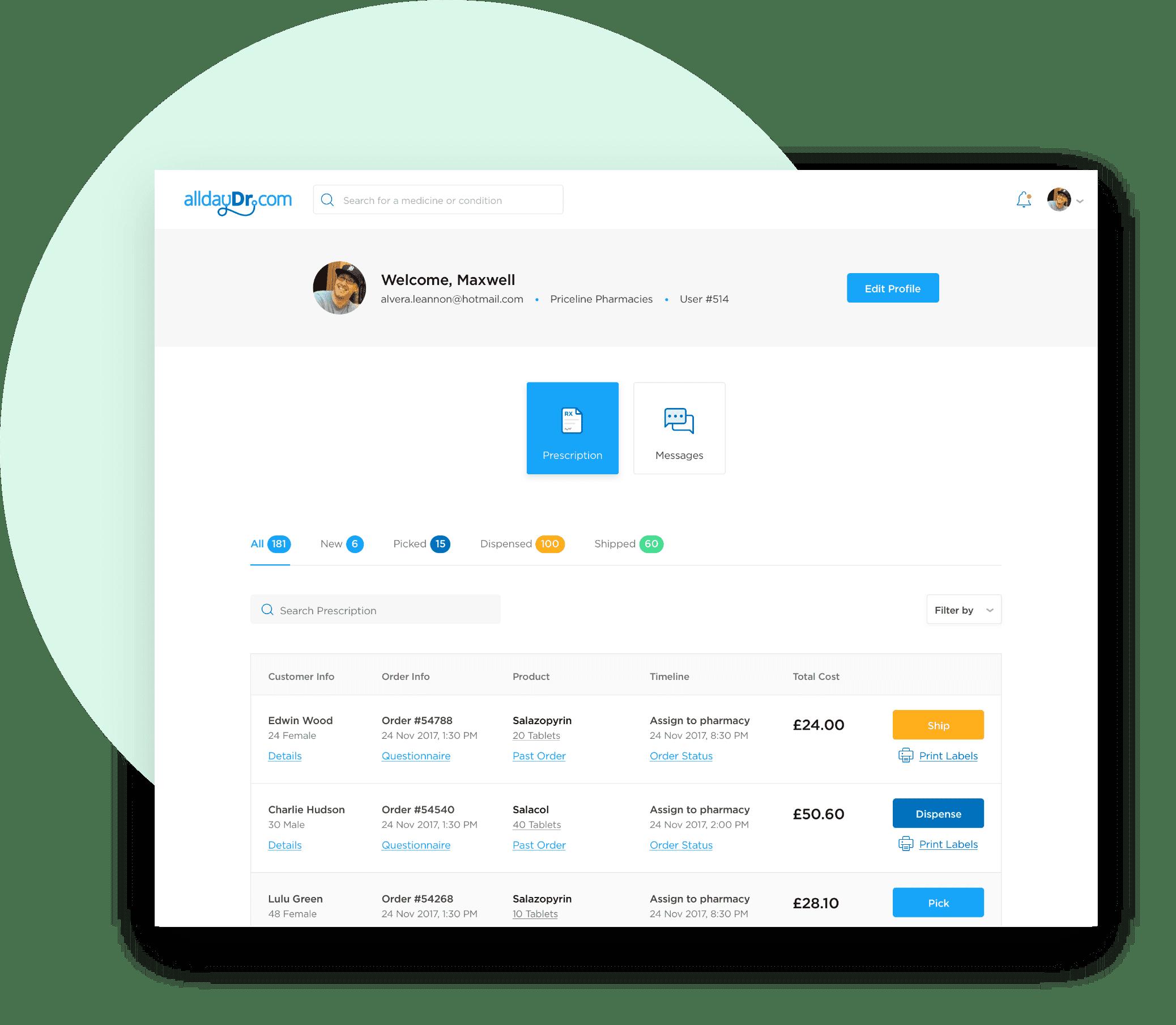 alldayDr Pharmacy portal