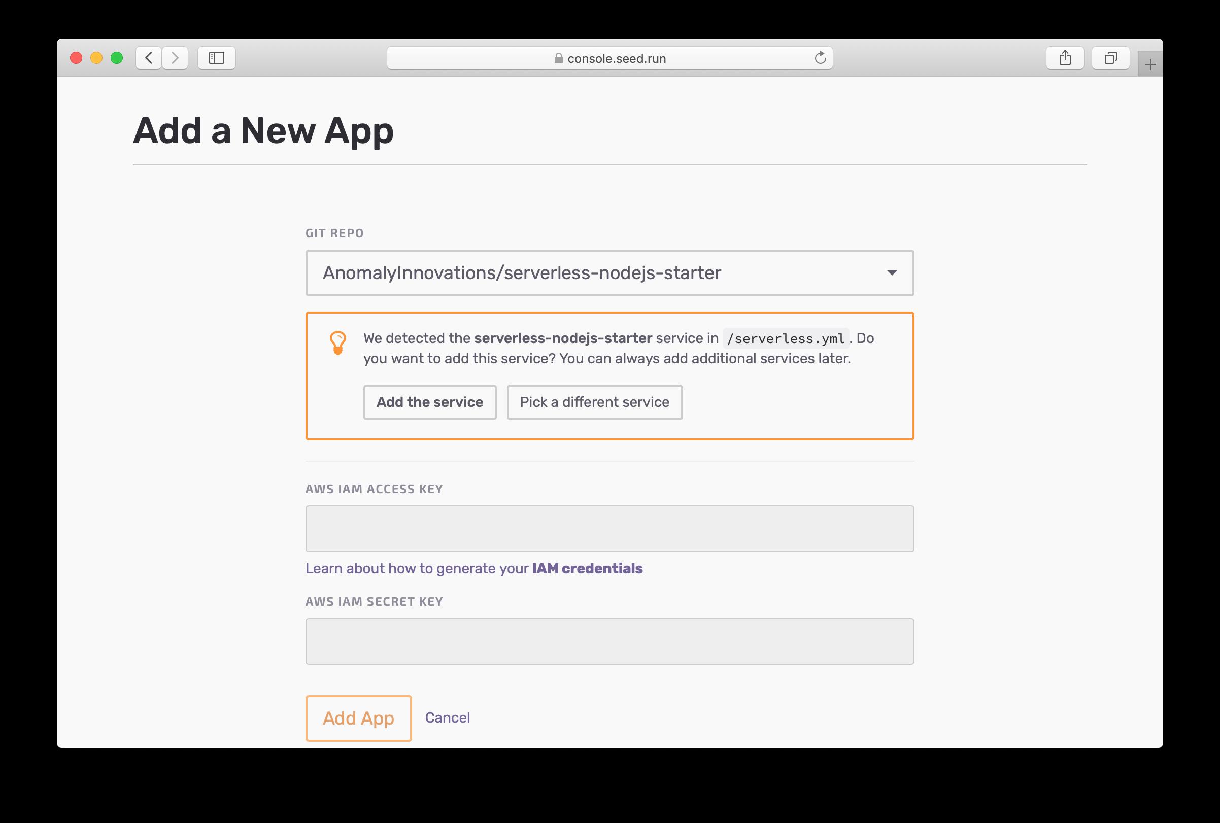 Auto-detect serverless.yml adding app