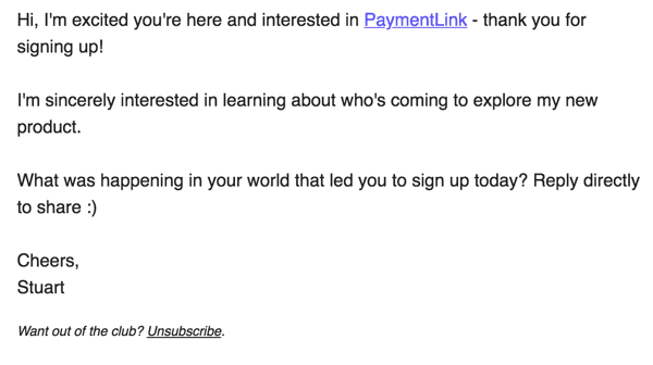 PaymentLink welcome email