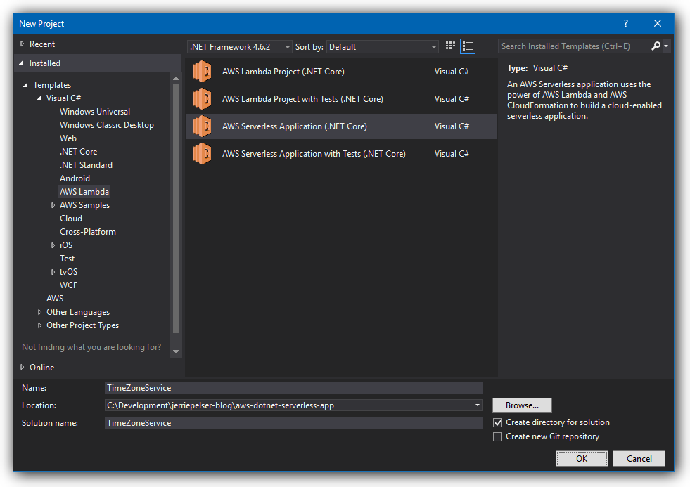 Creating a serverless application with core aws lambda and aws inside visual studio create a new project and select the aws serverless application core template malvernweather Gallery