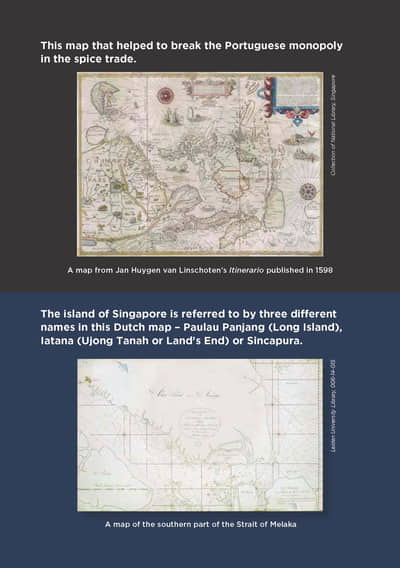 Two maps are listed on this page. The first map is: A map from Jan Huygen van Linschoten's Itinerario published in 1598. The second map is: A map of the southern part of the Strait of Melaka.