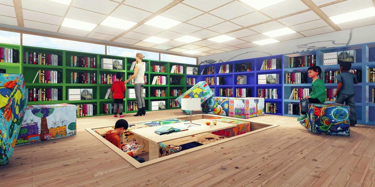 Αρχιτεκτονική αναπαράσταση του υπό μελέτη χώρου της Ανοικτής Παιδικής Βιβλιοθήκης