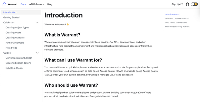Warrant Docs