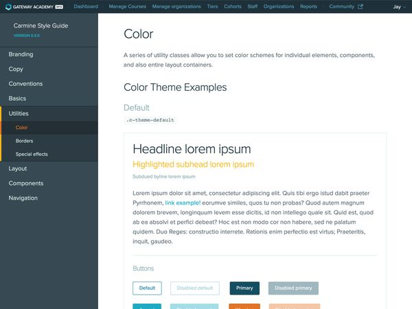 The theming page of the styleguide