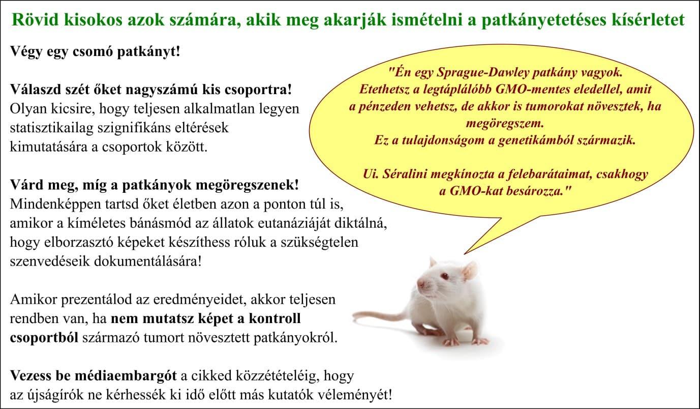 2. ábra: Kisokos azok számára, akik meg szeretnék ismételni Séralini patkányetetős tanulmányát (ismeretlen szerző alapján lefordítva és módosítva)