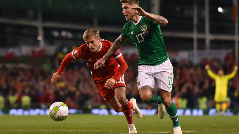Tackle during a Football Association of Ireland match