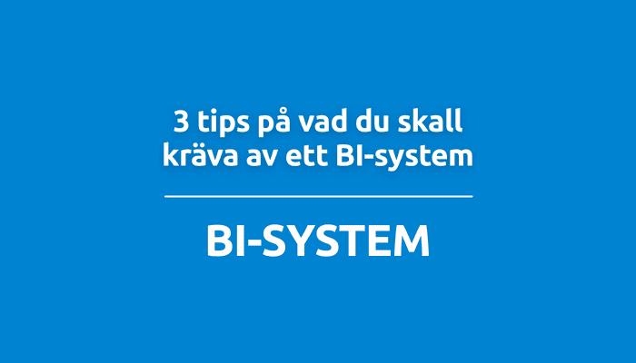 3 tips på vad du skall kräva av ett BI-system