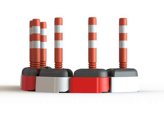 Road Rock Barriers with Cylinders