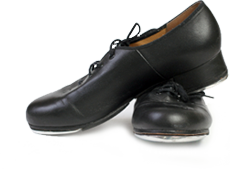 Black stepdance shoes.