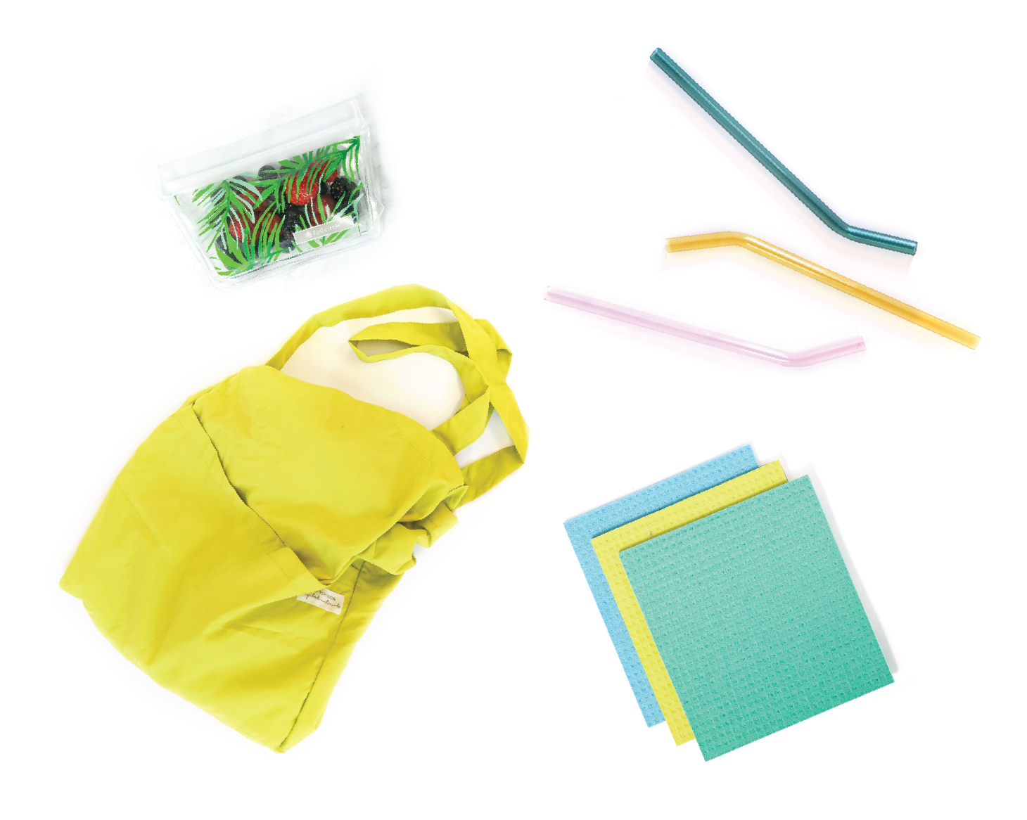 Kit contents which include a natural dish sponge, a produce brush, a reusable snack bag and more
