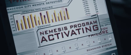 "A screen showing some bar charts (without a key or label) offset against the text ""NEMESIS PROGRAM ACTIVATING"""