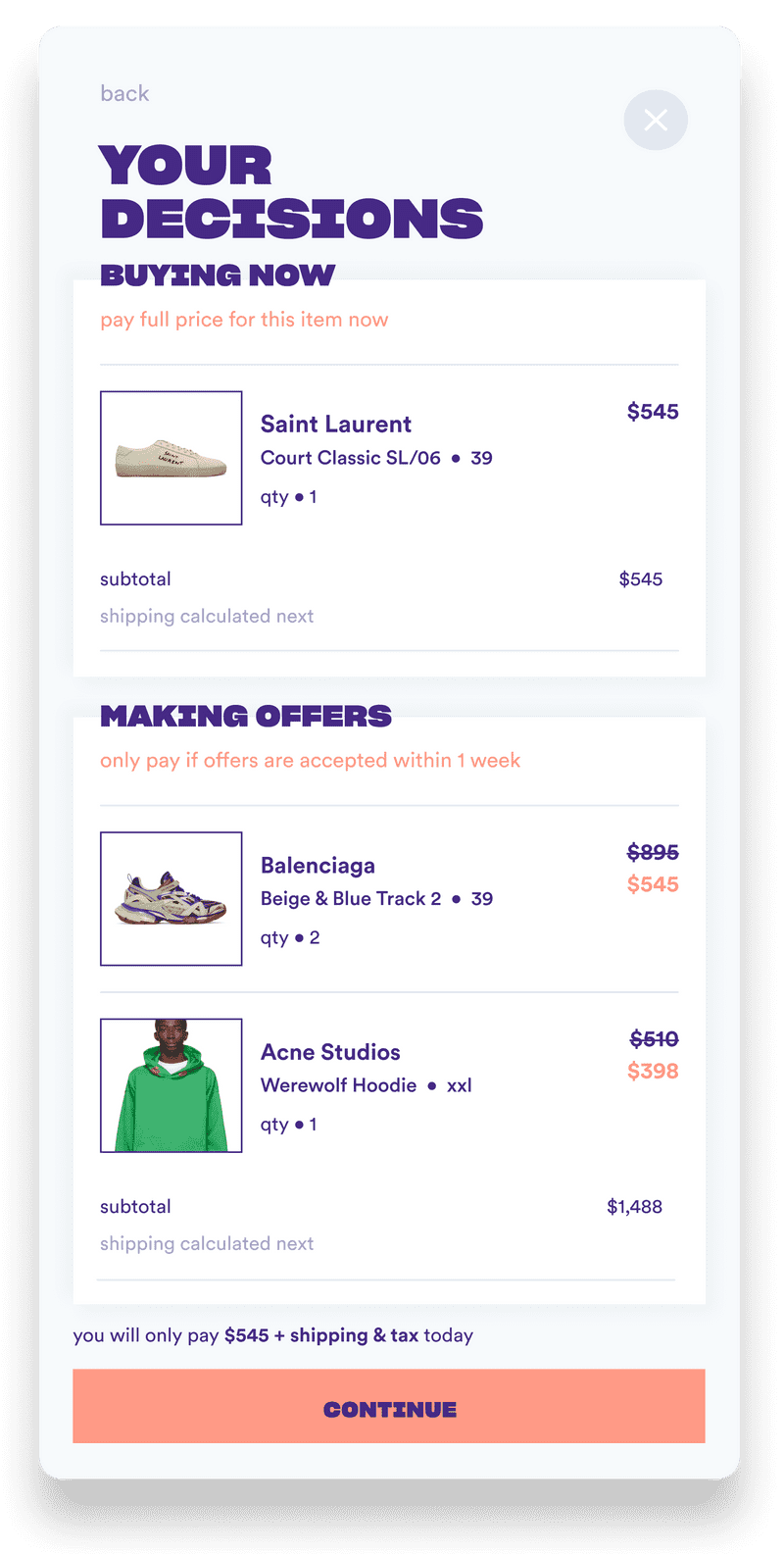 Batch offers a hybrid checkout mixing 'Buy Now' with prepaid offers.