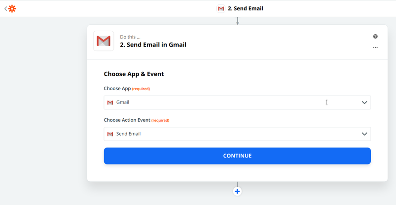 "Select Gmail application and ""Send email"" action"