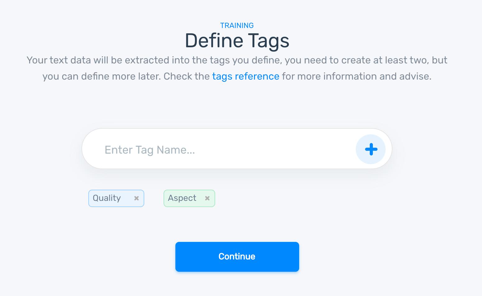 MonkeyLearn's NLP model builder. Step 4: define custom tags