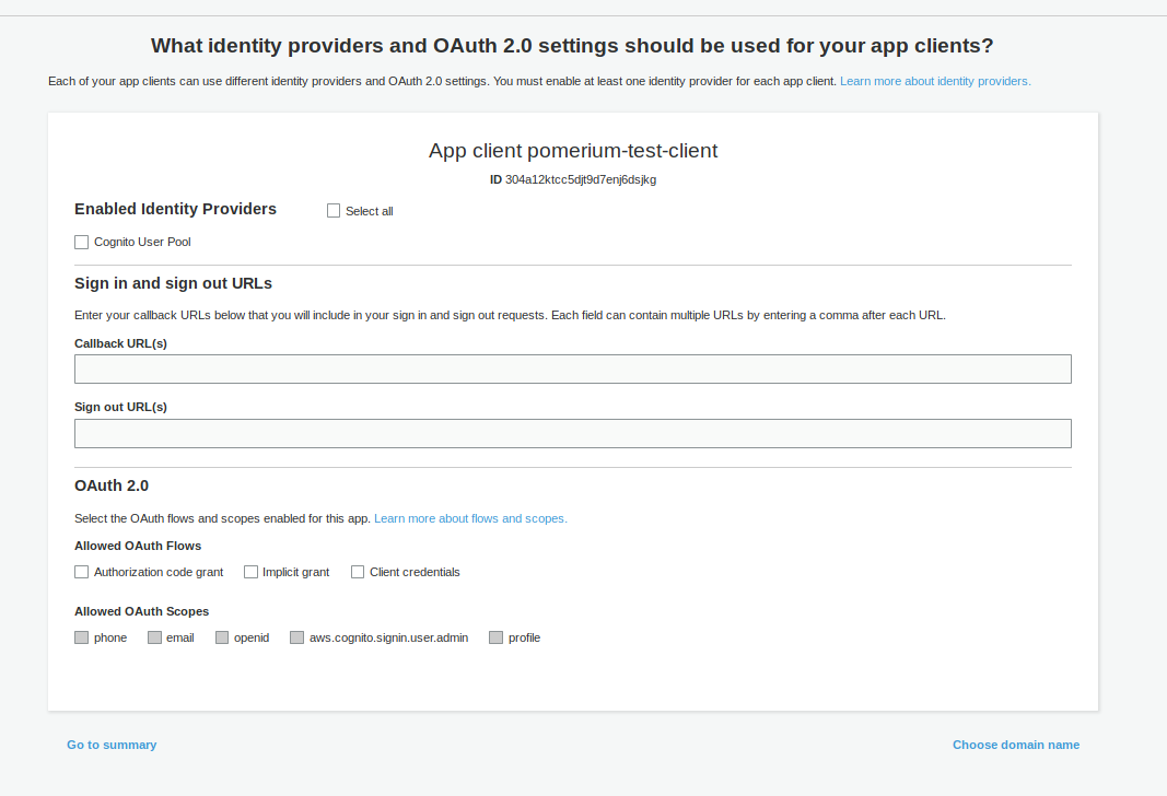 AWS Cognito App Client Settings