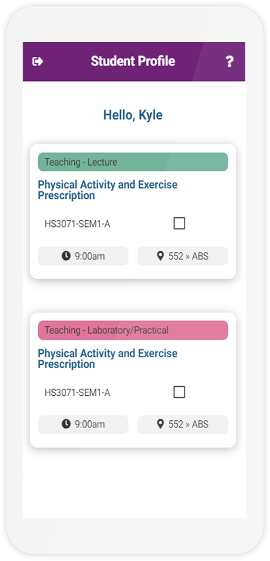 The Student Profile page of the Attendr mobile demo