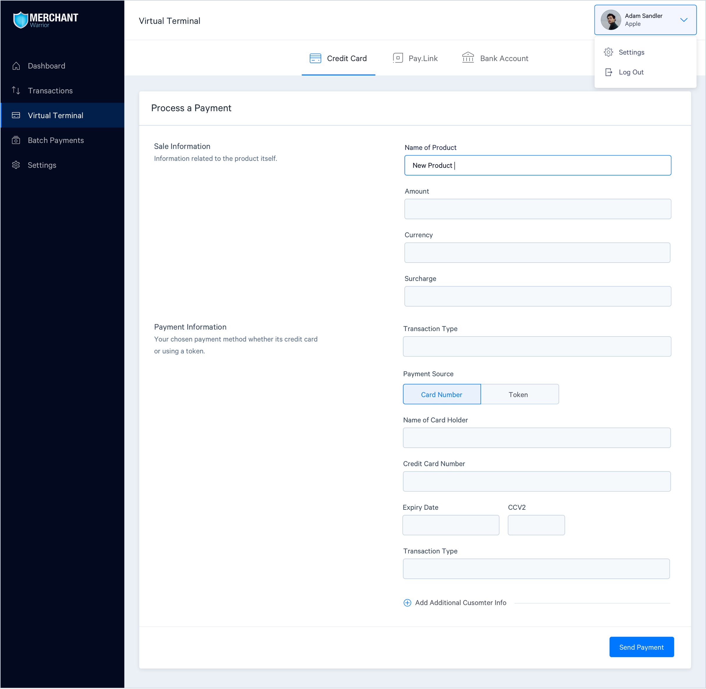 Virtual terminal page