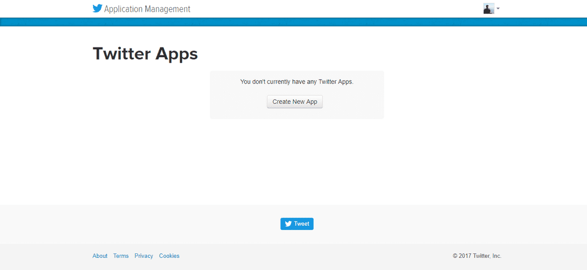 Create new app on Twitter