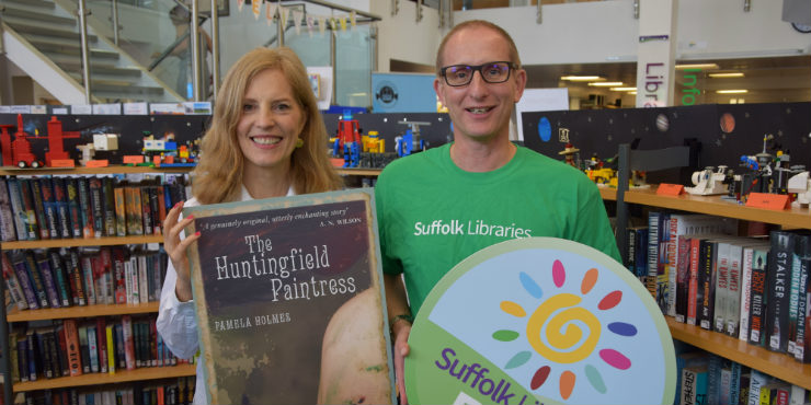 Suffolk Libraries CEO Bruce Leeke and The Huntingfield Paintress author Pamela Holmes launch Suffolk Libraries Day at Felixstowe Library
